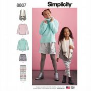 8807 Simplicity Pattern: Girls' Top, Skirt, Leggings and Gilet